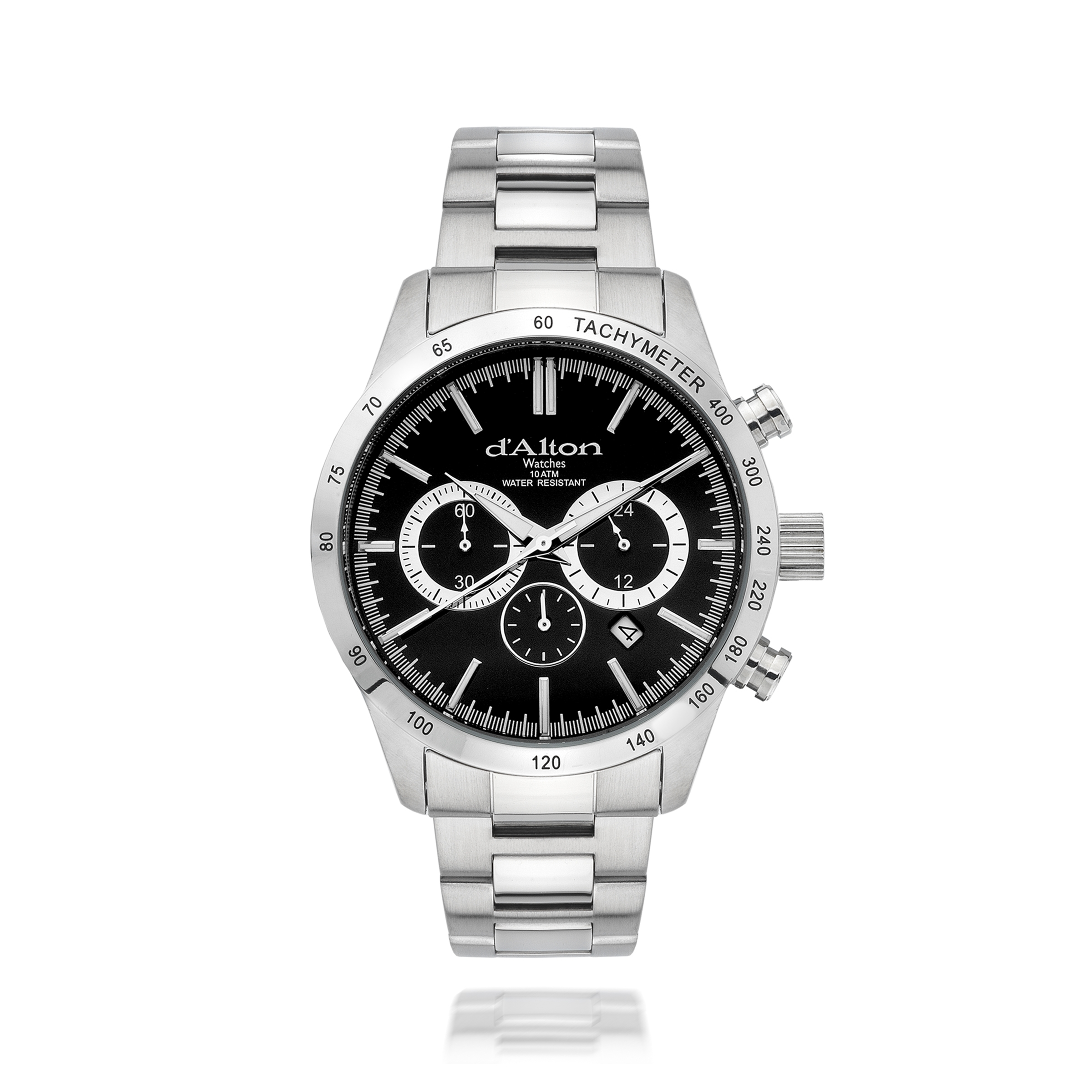 Gents D'Alton stainless steel chronograph watch with black dial, date function and tachymeter bezel. Water resistant 3ATM